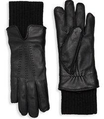 saks fifth avenue women's faux fur-lined leather gloves - black - size m