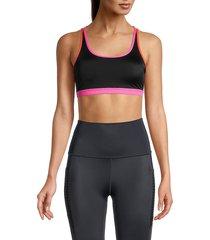 wear it to heart women's triple thread strappy-back sports bra - black neon pink - size xs