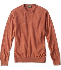 cotton/silk/cashmere crewneck sweater, burnt orange, xx large