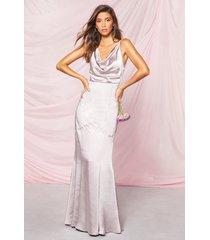 occasion satin cowl rouche back maxi dress, silver
