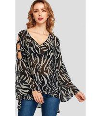yoins negro zebra blusa con cuello de pico y estampado animal recortado