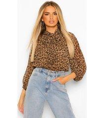 luipaardprint peplum blouse met strik, brown