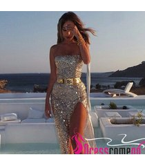 sexy sheath strapless gold sequins with a high slit evening dress/prom dresses