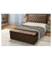 cabeceira e calçadeira baú king 190cm para cama box sofia suede marrom - ds móveis