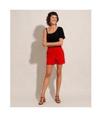 short alfaiataria com bolsos cintura alta vermelho