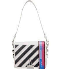 diag flap shoulder bag in white leather