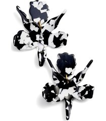 lele sadoughi small paper lily drop earrings in black/white at nordstrom