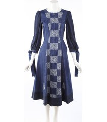 mary katrantzou tracey blue patchwork striped cotton silk dress blue/white sz: s
