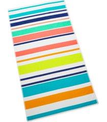 martha stewart collection multi stripe beach towel, created for macy's bedding