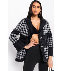 akira just gimme the light houndstooth puffer coat