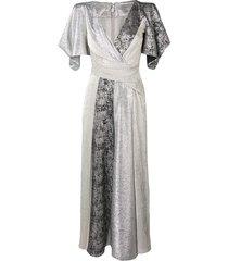 talbot runhof diamond voile jumpsuit - silver