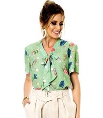 camisa bisô laço estampada feminina