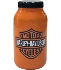 decorativo pote moto enfeite de vidro laranja - vermelho - dafiti