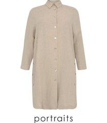 blouse buttoned slits linen