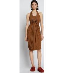 proenza schouler draped matte jersey dress bark/brown 6