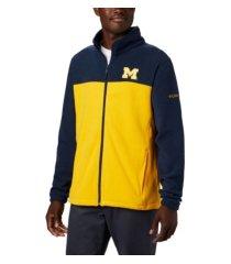 columbia michigan wolverines men's flanker jacket iii fleece full zip jacket