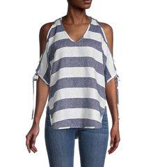 karen kane women's stripe cold-shoulder linen & cotton top - white blue - size xs
