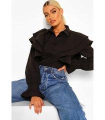 blouse met extreme ruchesmouwen shirt, zwart
