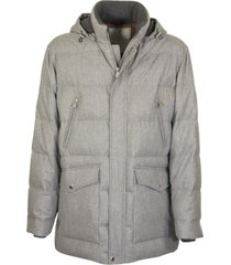 brunello cucinelli water-resistant lightweight wool, silk and cashmere flannel down jacket with detachable hood grey