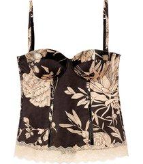 blusa moldado giada cetim viscose blooming sauvage intimissimi cetim preto - preto - feminino - dafiti