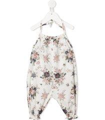 violeta e federico mayla halter neck floral romper - white