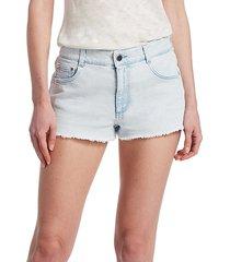 light wash cut-off denim shorts
