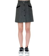 miu miu grey wool short skirt