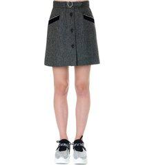 miu miu grey wool short skirt