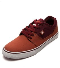 tenis skateboarding naranja-vinotinto-blanco dc shoes tonik tx