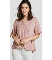 blusa de cintura suelta de manga corta con cuello en v y lazo rosa