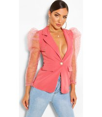 organza puff sleeve blazer with pearl button, pink