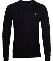 cotton cable crew stickad tröja m. rund krage svart gant