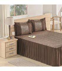 colcha / cobre leito safari com 2 porta travesseiros casal queen casa dona - incolor - dafiti