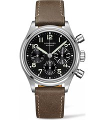longines aviation big eye automatic chronograph leather strap watch, 41mm in brown/black/silver at nordstrom