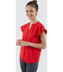 blusa mujer unicolor con botones color rojo, talla l