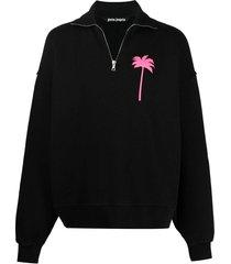 half-zip logo sweatshirt, black and fuchsia