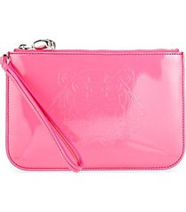 small logo faux leather pouch