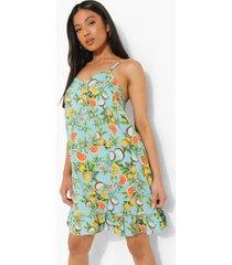 petite fruit print swing jurk met geplooide zoom, turquoise