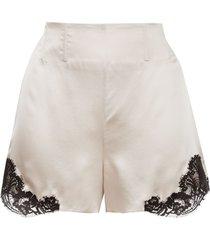 kiki de montparnasse silk and lace shorts - neutrals
