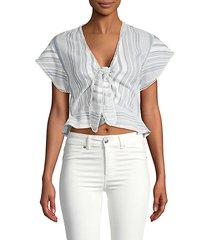 tie-front cotton cropped top