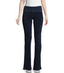 hard tail women's classic rib roll flare leggings - navy - size s