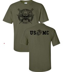 marine corps force recon usmc military front & back print men's tee shirt 832