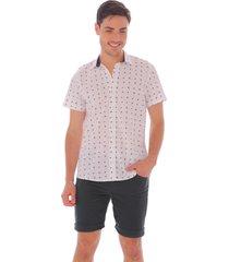 camisa blanca mini print palmeras para hombre 100177-00