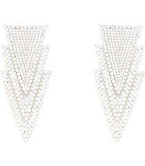 alessandra rich crystal three triangles earrings