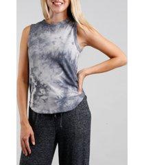women's tie dye curved hem tank top