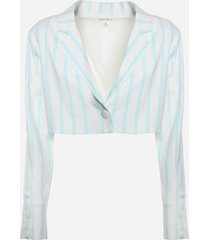 for love & lemons short blazer in stretch linen with striped print