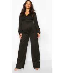 maternity cross over wide leg jumpsuit, black