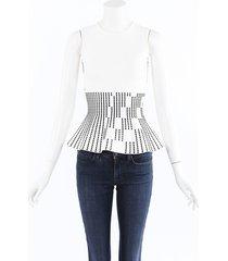 roland mouret stretch knit flared top black/white sz: s