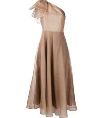 msgm one-shoulder silk dress - neutrals