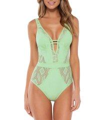 women's becca wanderlust one-piece swimsuit, size medium - green